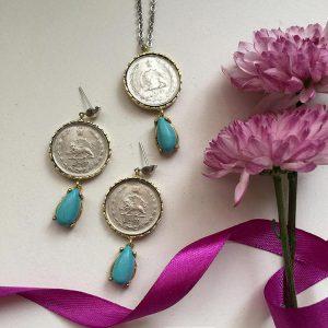 گردنبند2 سکه پهلوی 2 ریالی فیروزه