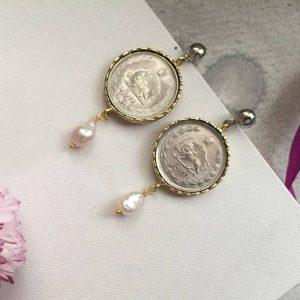 گوشواره سکه دو ریالی پهلوی و مروارید